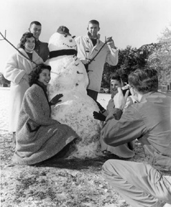 Florida State University students gathered around their snowman for a portrait: Tallahassee, Florida (1958)