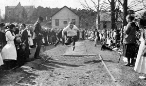 Dorothy Dodd long jumping during field day: Tallahassee, Florida (1920)