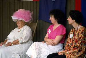 Folklorists Thelma Boltin, Peggy Bulger and Doris Dyen at the 1982 Florida Folk Festival (1982)
