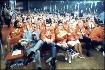 Governor Claude Kirk sitting with Florida delegates at the 1968 Republican National Convention: Miami Beach, Florida (August 1968)