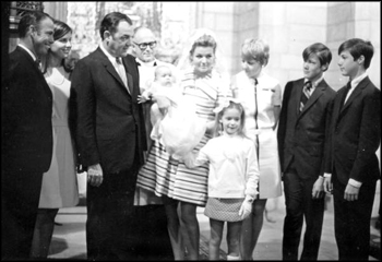 Scene from the christening of Governor Claude Kirk's daughter Claudia: Palm Beach, Florida (December 29, 1968)