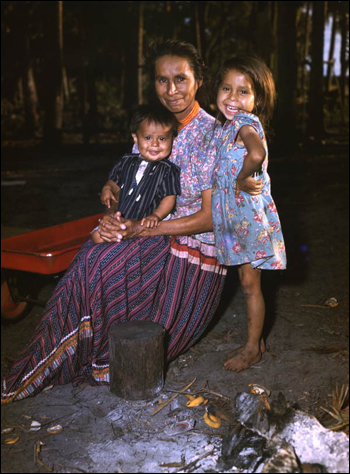 Seminole mother with her children: Brighton Seminole Indian Reservation, Florida (1949)