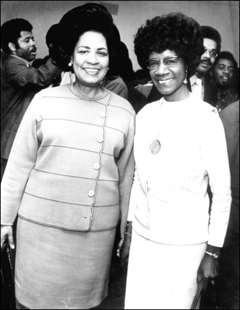 Gwendolyn Sawyer Cherry, Florida House of Representatives (left), and Shirley Chisholm, United States Congress, at the Democratic National Convention: Miami Beach, Florida (1972)
