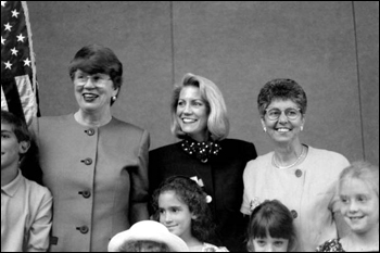 Celebration for Patricia A. Seitz (center), first woman President of the Florida Bar Association; also pictured United States Attorney General Janet Reno (left) and Chief Justice of the Florida Supreme Court Rosemary Barkett.