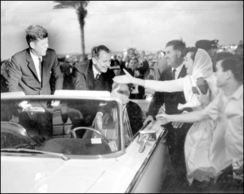 Crowd greeting President John F. Kennedy in Miami, Florida (1963)