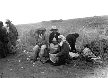 Migrant vegetable pickers waiting to be paid: Homestead, Florida (1939)