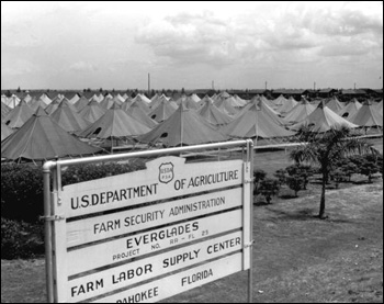 Tent housing for migrant workers provided the Farm Security Administration: Pahokee, Florida (1943)