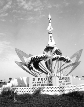 Motel signs representing space programs Cocoa Beach, Florida (1958)