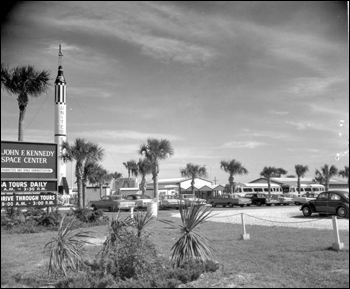 Visitors' center and entrance at Kennedy Space Center: Cape Canaveral Florida (1967)