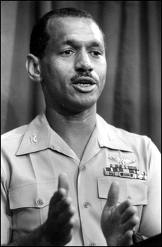 NASA astronaut Marine Colonel Charles Bolden gives a news conference prior to speaking at Florida Agricultural and Mechanical University: Tallahassee, Florida (1984)