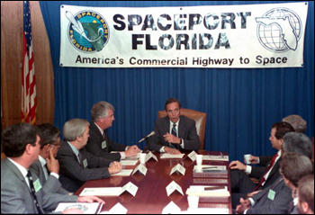 Governor Bob Martinez begins the Florida Spaceport Authority meeting: Tallahassee, Florida (1989)