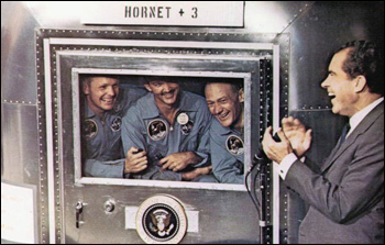 Astronauts greeted by President Nixon upon their return (1969)