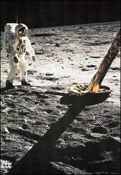 Buzz Aldrin on his way toward the Lunar Module (1969)