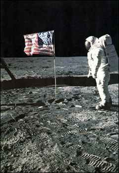 View of the U.S. flag with Astronaut Aldrin at Tranquility Base (1969)