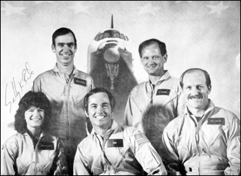 Crew members of the 7th space Shuttle orbital flight (1983)
