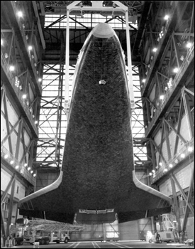 Space Shuttle Columbia preparing for completed assembly (1980)