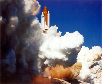 Space Shuttle Challenger liftoff (1986)