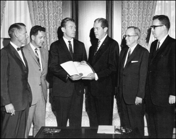 Florida Governor Haydon Burns congratulating space industry leaders (between 1965 and 1967)