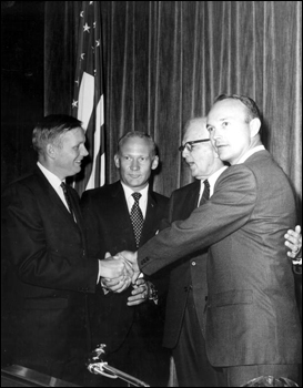 U. S. Senator Spessard L. Holland standing with the first lunar astronauts (ca. 1969)