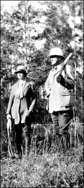 Col. and Mrs. Lloyd C. Griscom dressed for hunting at Luna Plantation: Leon County, Florida (ca. 1930s)