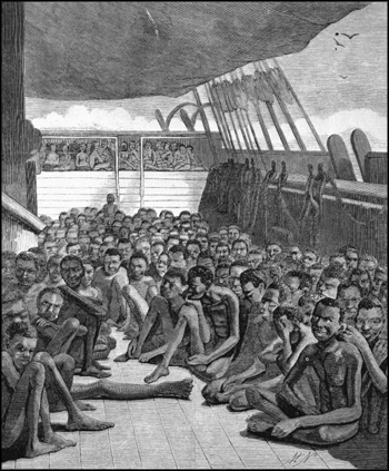 Slaves on the deck of the bark Wildfire brought into Key West (1860)