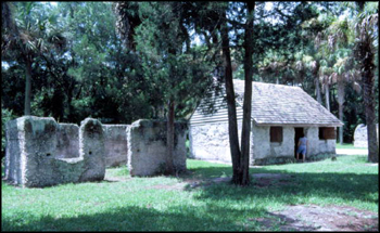 Tabby slave cabins at the Kingsley Plantation State Historic Site: Fort George Island, Florida (20th century)