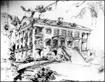 Drawing of the main house at Verdura Plantation (ca. mid-1800s)