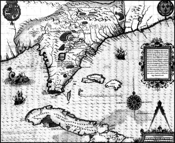 Early Map of La Florida and the Caribbean from Theodore de Bry's Grand Voyages (1591)