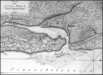 Italian map of Saint Augustine, Florida (1778)