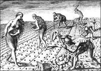 """How they till the soil and plant,"" from de Bry Grand Voyages (1591)"