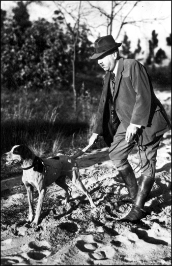 "Udo Fleischmann with his hunting dog ""The Coming Storm"": Leon County, Florida (ca. 1930s)"