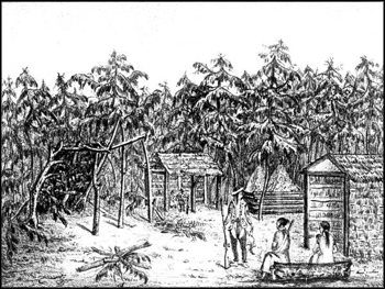 Creek Indian village on the Apalachicola River (1838 or 1839)