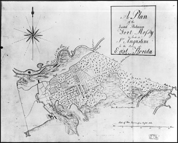 Plan of the land between Fort Mossey (Mose) and Saint Augustine (ca. 1770s)