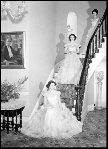 Young women pose on a staircase at Goodwood: Tallahassee, Florida (1951)
