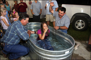 Baptism at Cowboy Church. Williston Horseman's Park, October 2008.