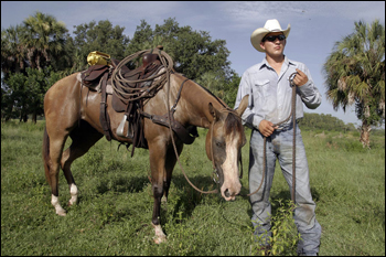 Justin Gopher with Cracker horse. Big Cypress Seminole Indian Reservation, July 2007.
