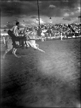 Bobby Boulter during the trick riding exhibit: Lakeland, Florida (1947)