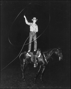 Buck McLean shown trick riding and roping: Gainesville, Florida (1947)