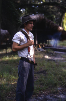 Living history demonstration of a Florida cowboy in an 1876-era cow camp at Lake Kissimmee State Park: Lake Wales, Florida (1988)