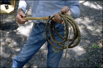 Closeup of cow whip made by George &quot;Junior&quot; Mills: Okeechobee, Florida (1994)