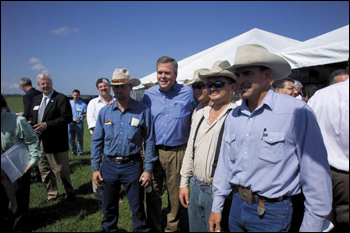 Governor Jeb Bush posing with Babcock Ranch cowboys: Punta Gorda, Florida (2006)