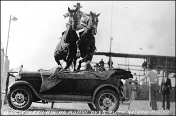 Billie Keen riding horses over an automobile: Arcadia, Florida (1930)
