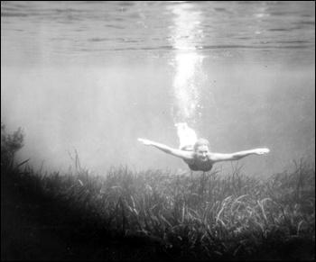 Girl swims under the water at Silver Springs: Ocala, Florida (19--)