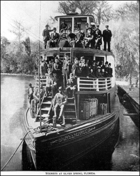 Tourists aboard the river steamboat &quot;Okeehumkee&quot;: Silver Springs, Florida (188-)