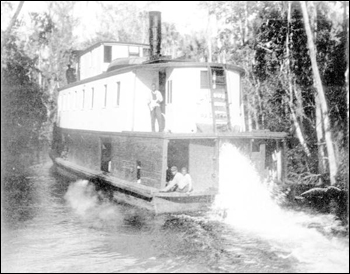 Steamboat &quot;Astatula&quot; running through the swamp: Marion County, Florida (1892)