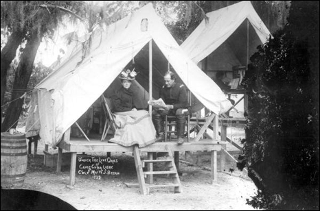 Colonel and Mrs. William Jennings Bryan in a tent under the live oaks: Jacksonville, Florida