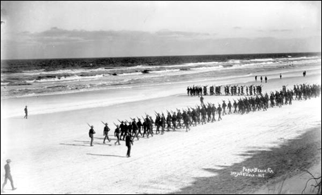 3rd Nebraska Volunteers marching on the beach: Pablo Beach, Florida (1898)