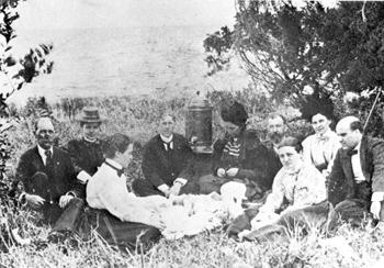 Clara Barton and Red Cross colleagues having a picnic: Tampa, Florida (1898)