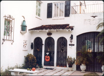 Home of Roxcy Bolton at 1302 Alhambra Circle decorated for Halloween: Coral Gables, Florida (197-)