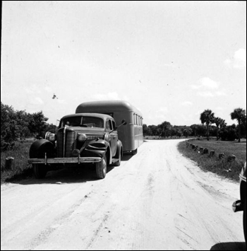 View of trailer parked near entrance to the Myakka River State Park: Sarasota, Florida (1947)